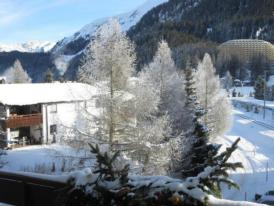 Modernes, exklusives Apartment im Dorf am Davoser See, Skikeller, Innenpool, Sauna, Balkon