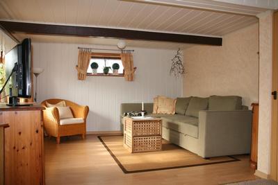 Wohnzimmer mit Sofa und Fernseher